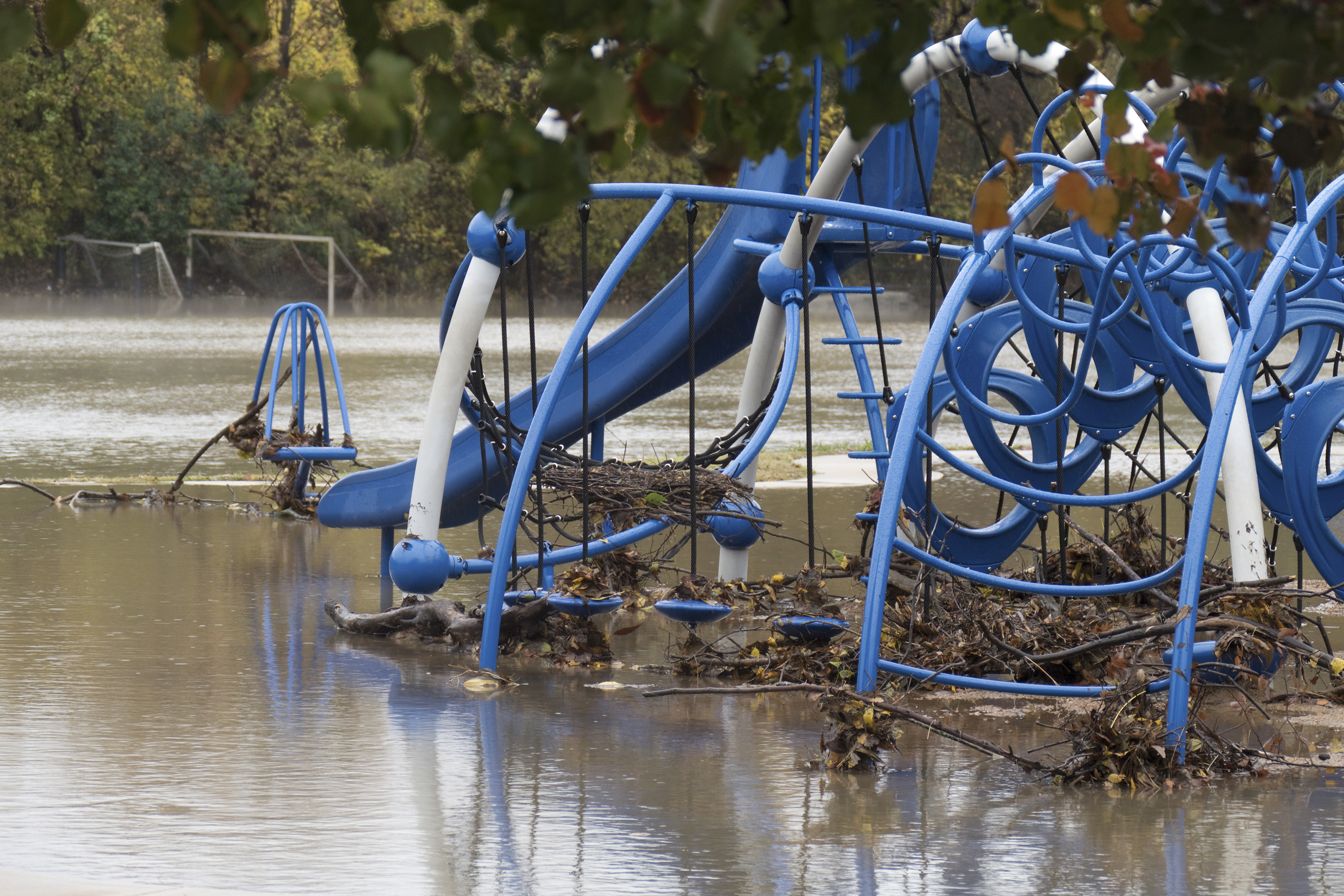 Flooded Colleyville playground equipment Dallas Texas suburb
