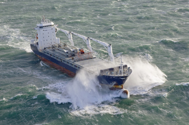 Shipping ship rough sea ocean