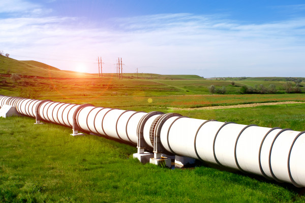 Industrial pipeline in an open field