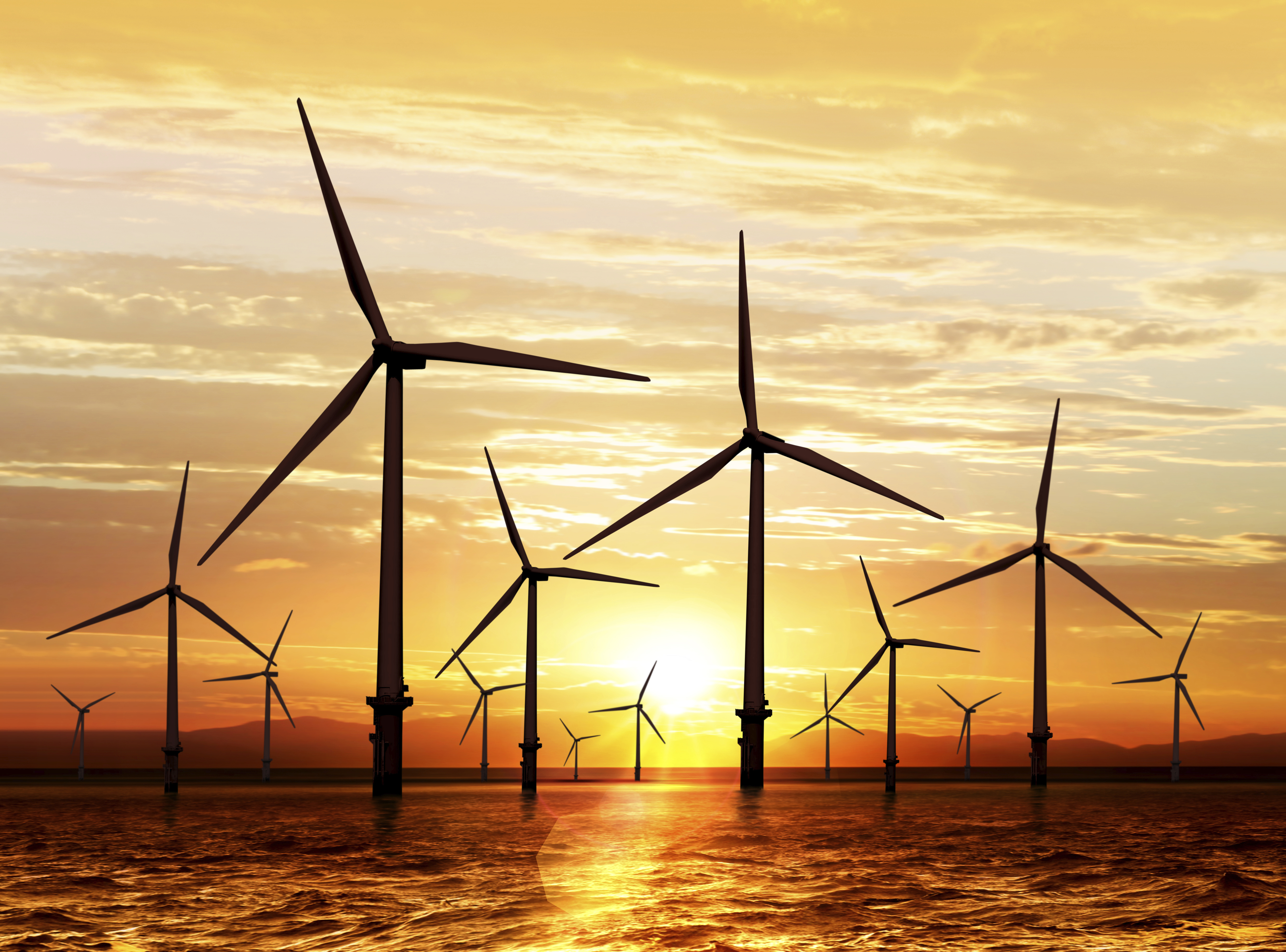 windturbins sunset renewables offshore wind