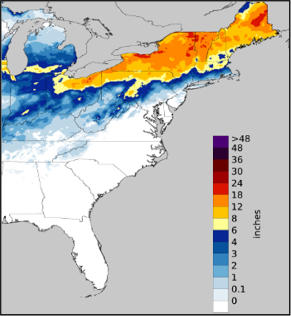 US snowfall total