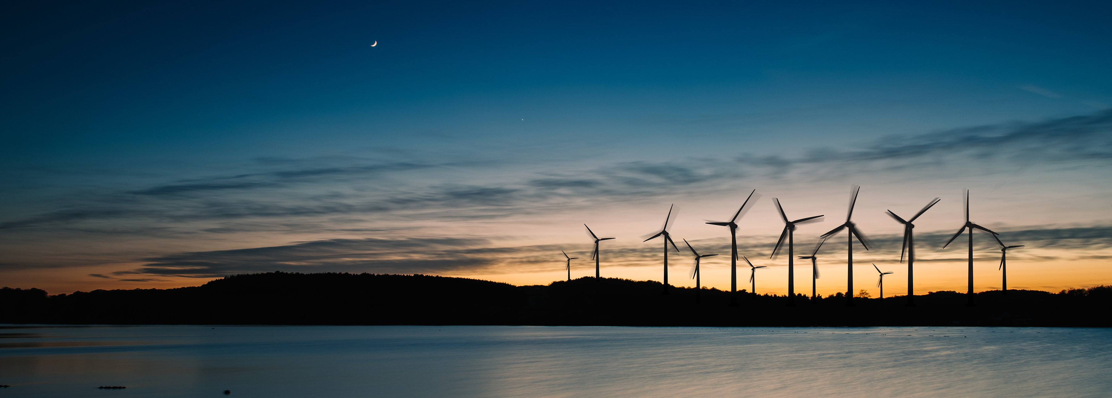 Wind turbines at night cropped